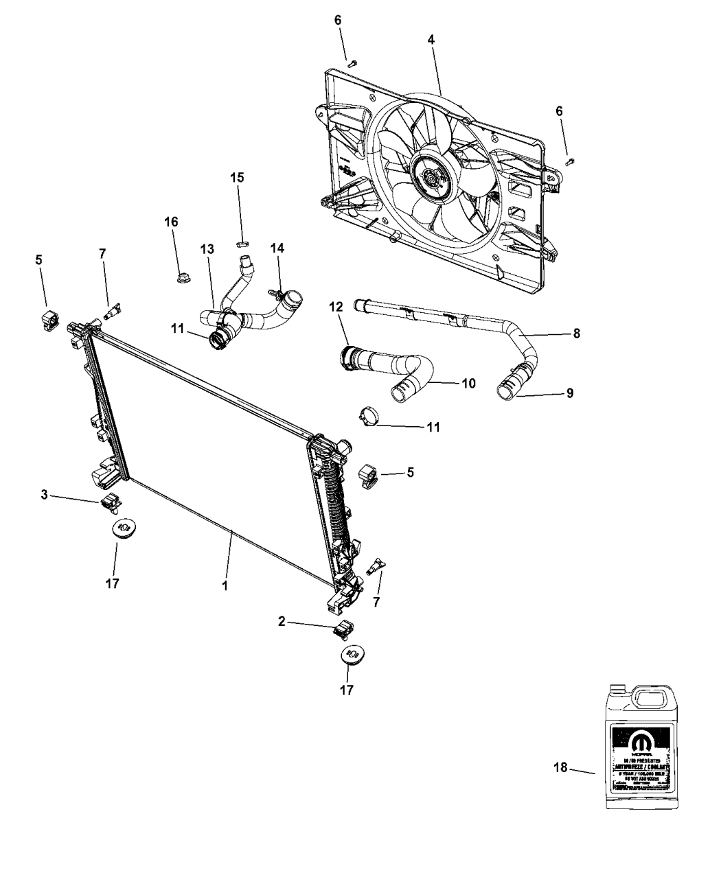 68193963aa Genuine Chrysler Hose Radiator Inlet Schematic 2015 200 Related Parts