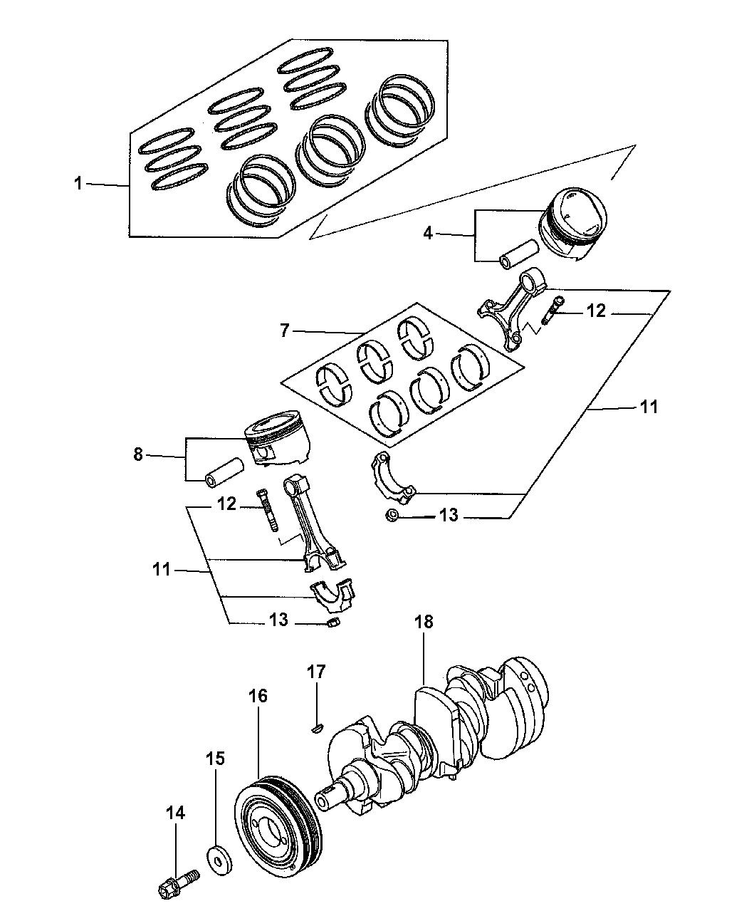 1999 Dodge Avenger Crankshaft Piston Drive Plate Engine Diagram Thumbnail 2