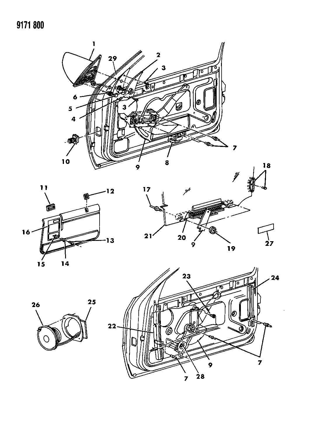 1989 Dodge Shadow Door Front Glass Regulators And Speakers Wiring Diagram