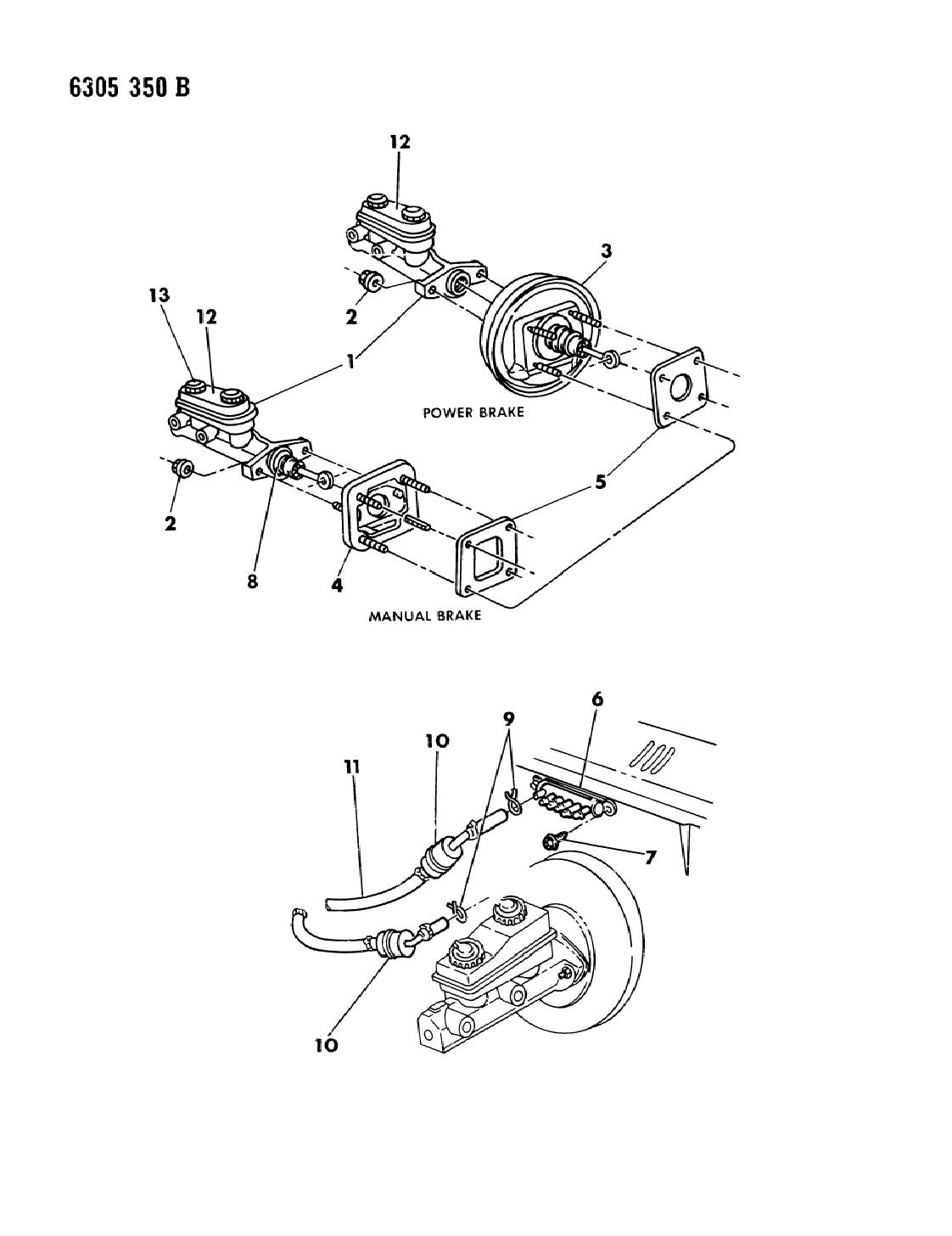1987 Dodge Dakota Booster - Master Cylinder