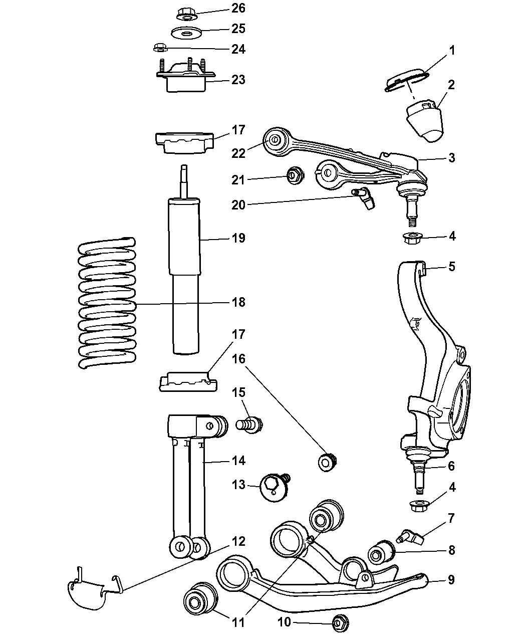 2005 jeep liberty suspension - front & strut - mopar parts ... jeep parts schematic jeep suspension schematic