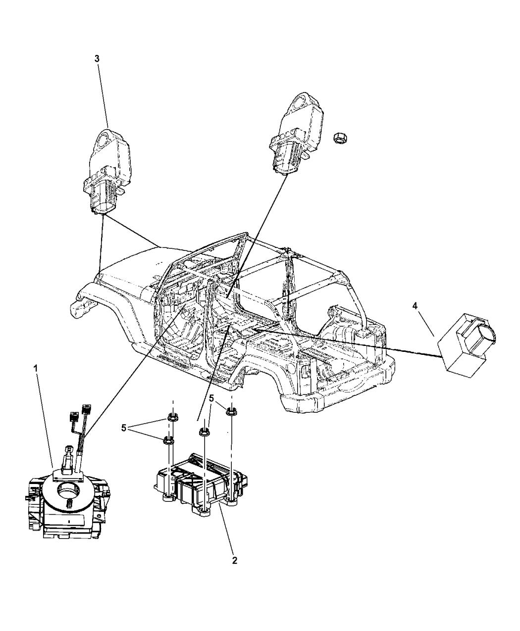 68003216ad Genuine Mopar Clksprng Steering Column Control Mod 2008 Jeep Wrangler Engine Diagram Air Bag Modules Impact Sensor Clock Springs