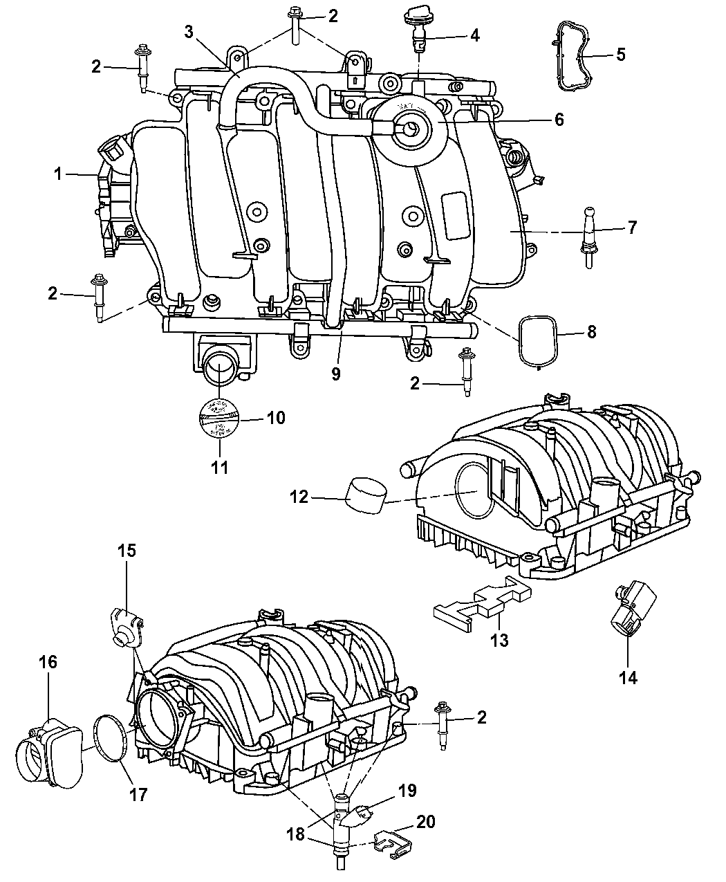 4897125aa - genuine mopar oring kit-fuel injector 91 chrysler throttle body diagram