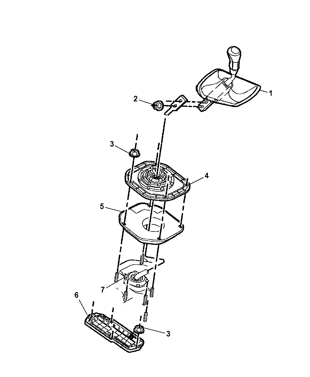 7 in the diagram below. 2005 Jeep Liberty Gear Shift Controls