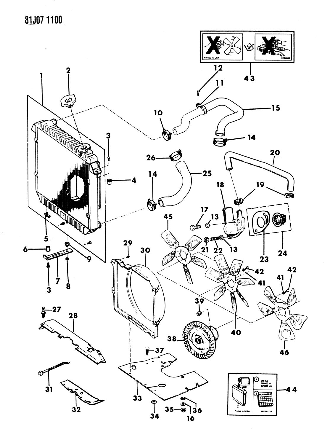 J3241858 Genuine Mopar Motor Fan 1985 Jeep Grand Wagoneer Engine Diagram Cherokee Radiator Related Parts