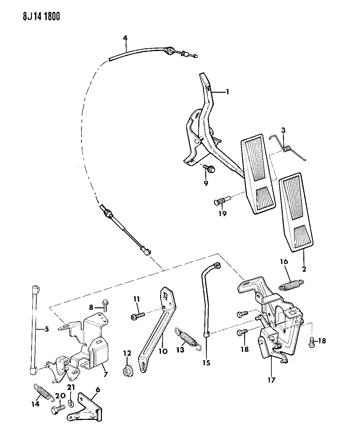 1989 Jeep Wrangler Accelerator Pedal & Linkage