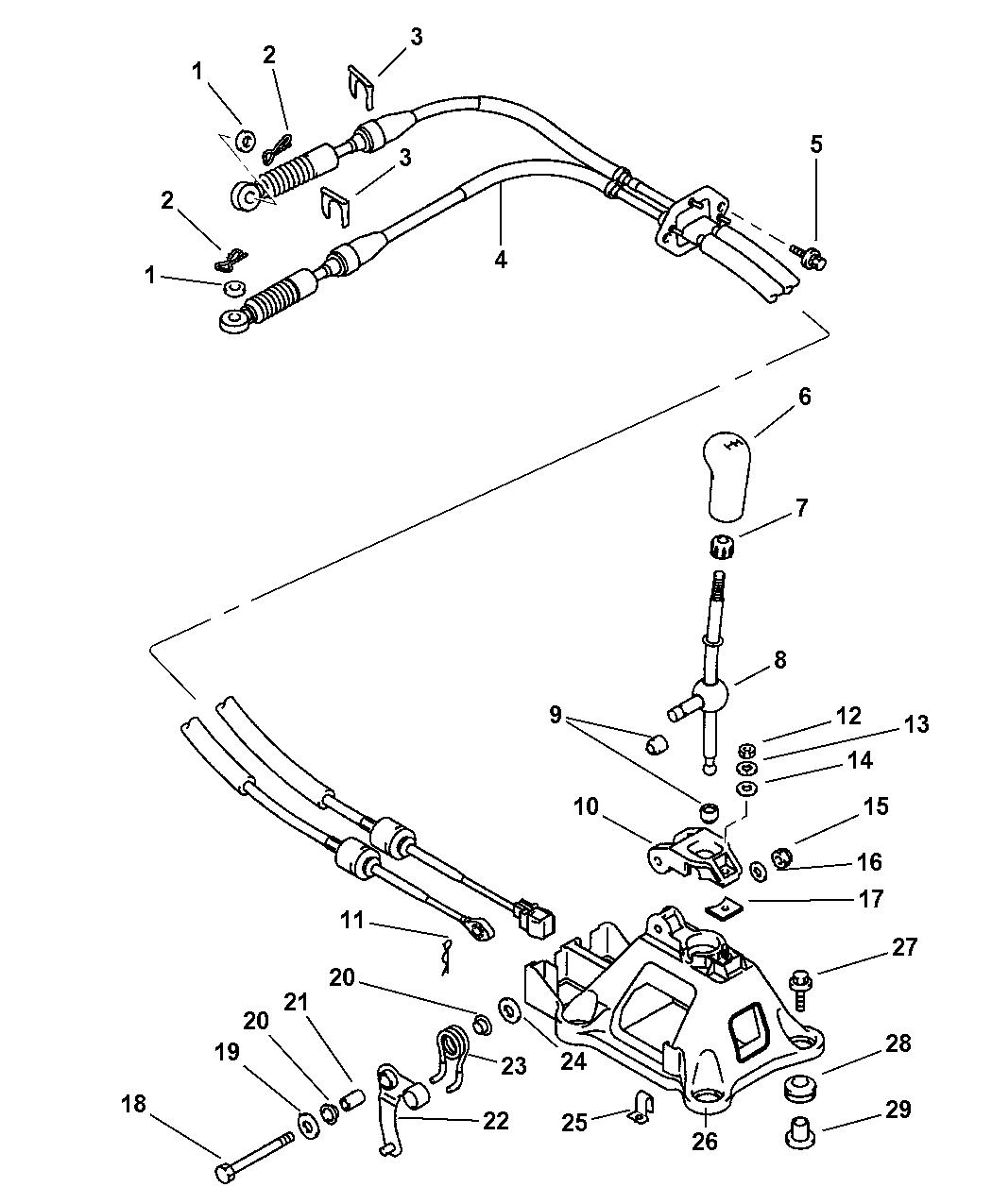 2003 Dodge Stratus Coupe Gear Shift Control & Cables