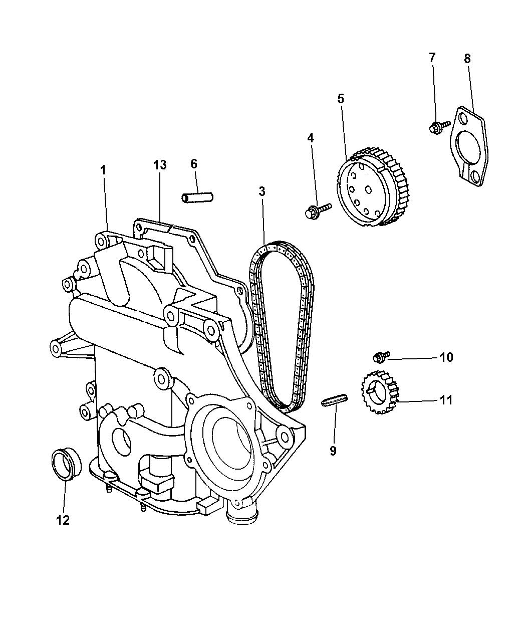 2004 Dodge Grand Caravan Timing Chain Cover Mopar Parts Giant Engine Schematics Thumbnail 1