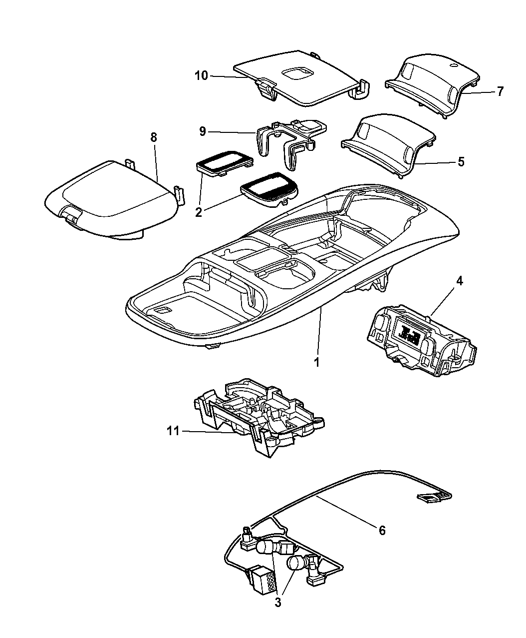 Genuine Dodge HOUSING-OVERHEAD CONSOLE