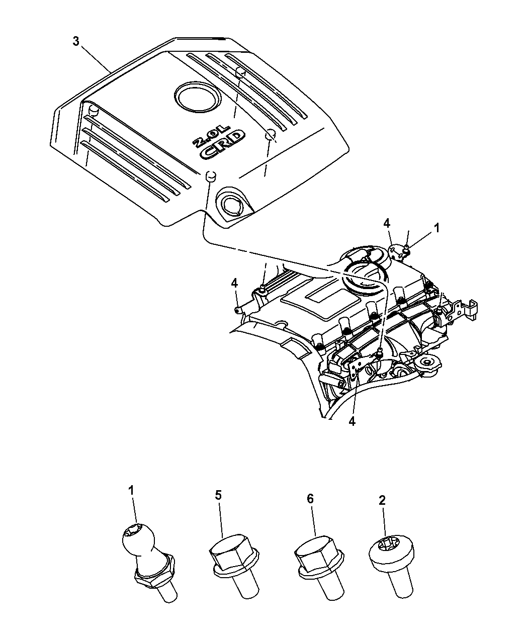 2009 Chrysler Sebring Engine Cover Related Parts Diagram Thumbnail 5
