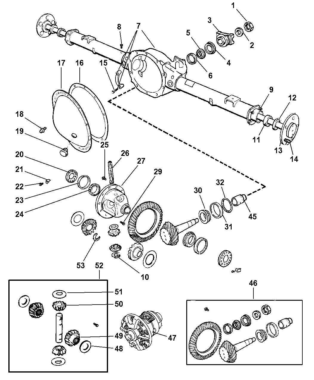 2002 Dodge Dakota Axle, Rear, With Differential And Housing