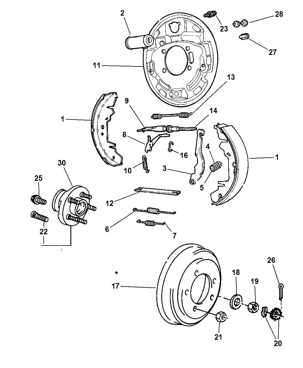 2001 dodge caravan brakes, rear drum