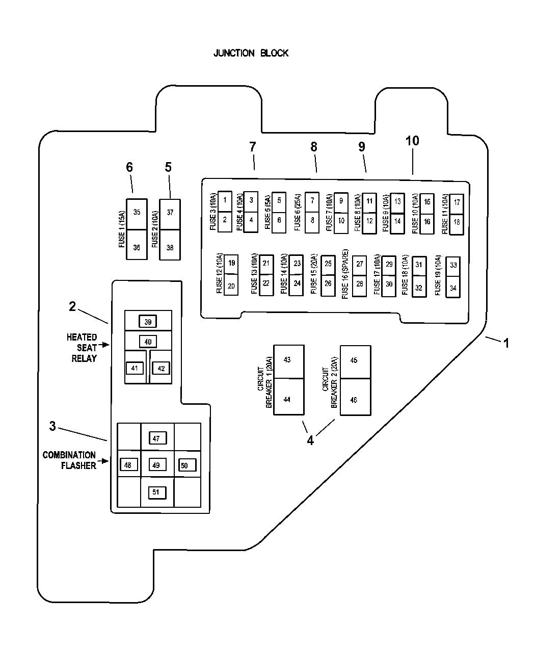 1999 dodge ram 1500 quad & club cab junction block relays & fuses 1998 dodge ram fuse diagram 1999 dodge ram 1500 fuse panel diagram #6