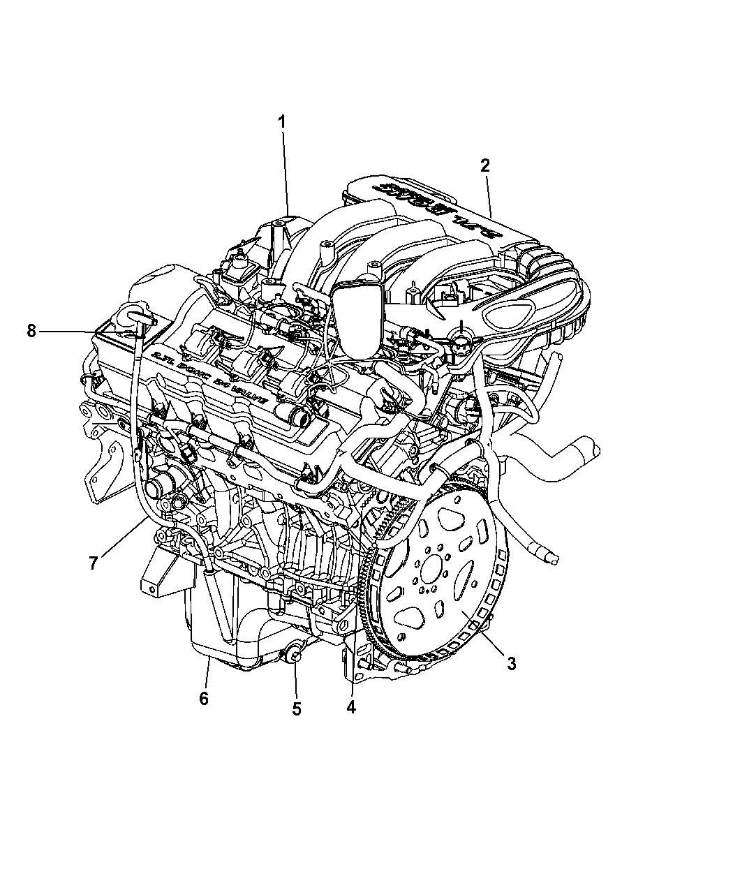 2007 Dodge Magnum Engine Assembly Identification Service Diagram Thumbnail 1