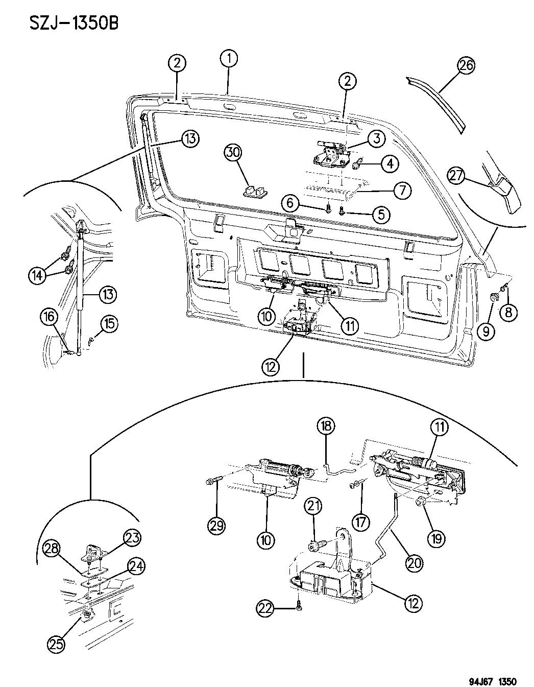 1996 jeep grand cherokee lift door latch & hinges