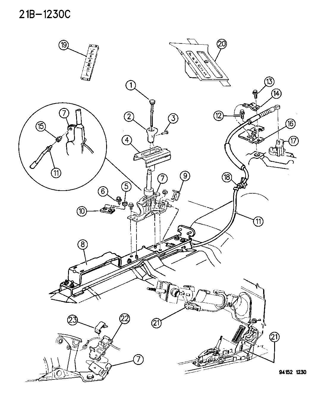 1994 chrysler lebaron gtc controls  gearshift  floor shaft