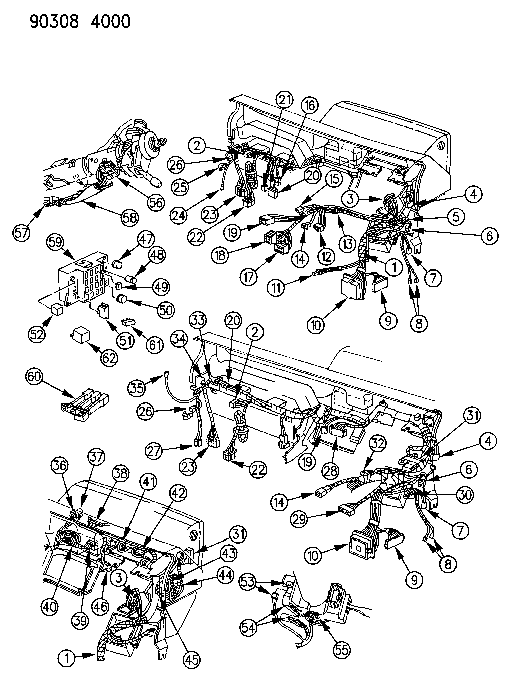 1991 Dodge Dakota Wiring - Instrument Panel