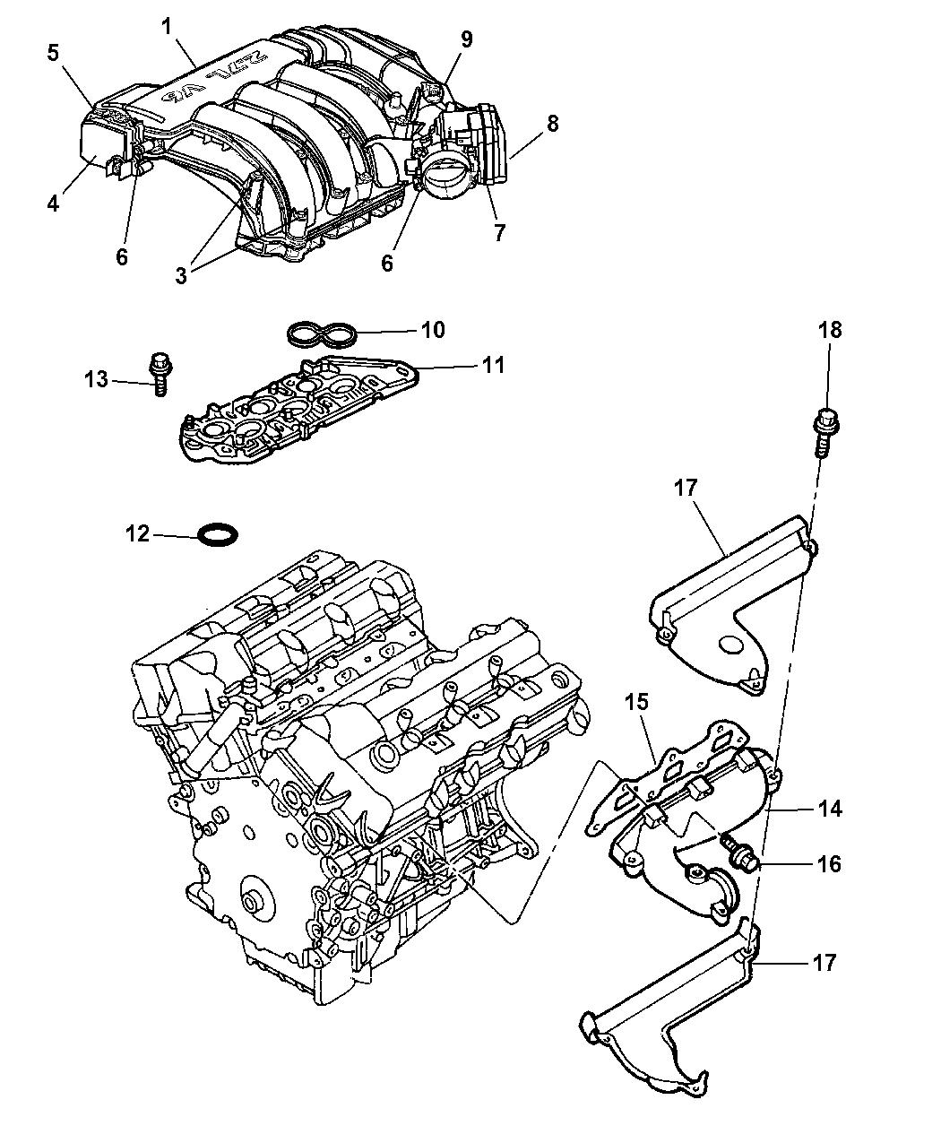 4591960ac genuine mopar manifold intake rh moparpartsgiant com North Star Engine Intake Exploded Diagram of Engine