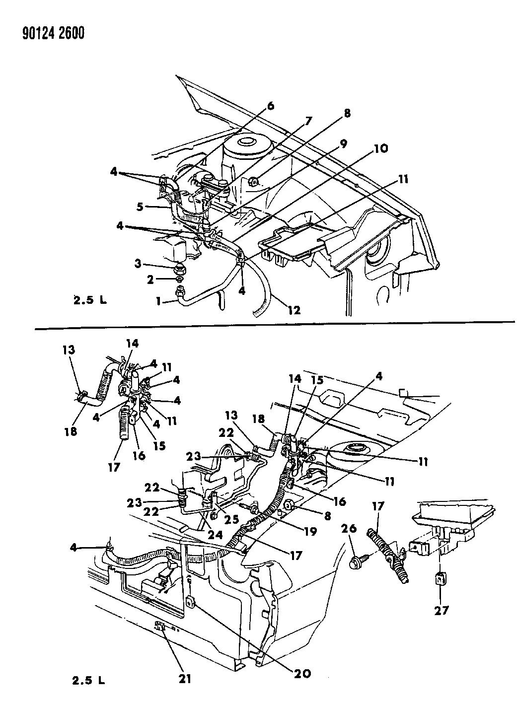 1990 Dodge Spirit Plumbing - A/C & Heater - Thumbnail 1