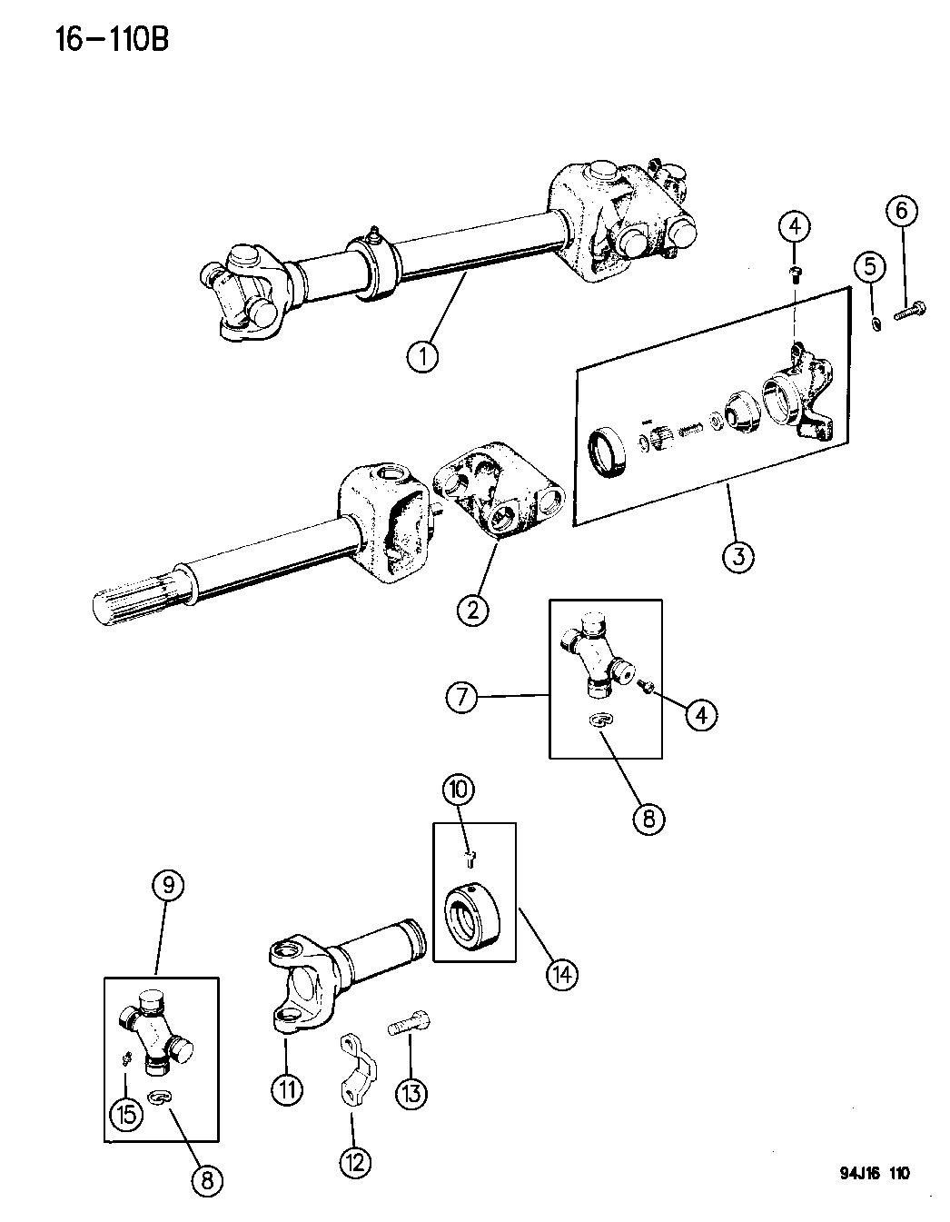 1995 Jeep Grand Cherokee Propeller Shaft & Universal Joint