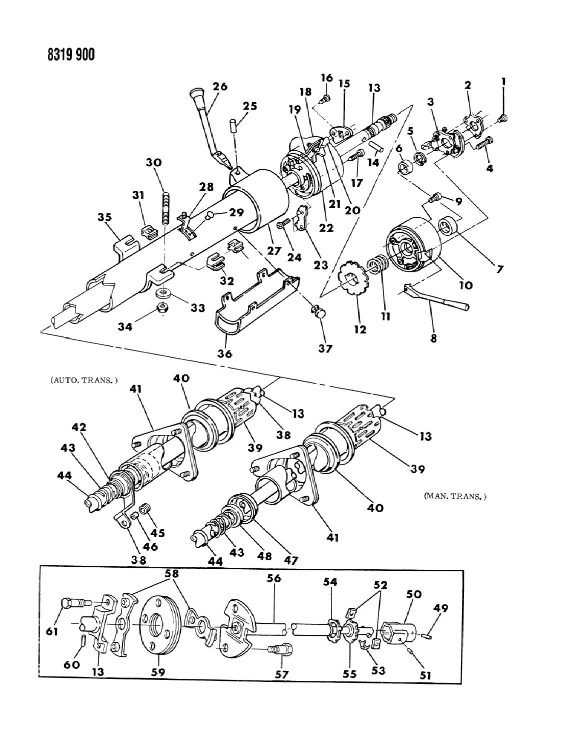1989 Dodge Ramcharger Column  Steering Non