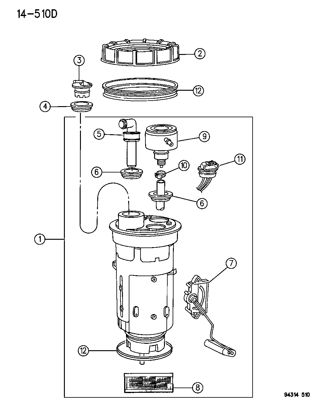 1996 dodge dakota fuel module, level unit and filter 1995 Dodge Dakota