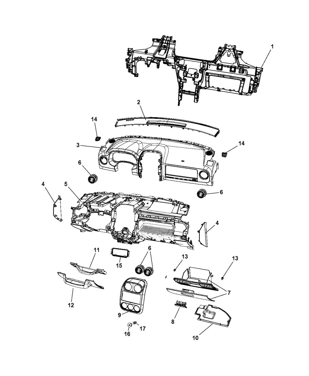 1hm51xdvac genuine jeep cover instrument panel. Black Bedroom Furniture Sets. Home Design Ideas