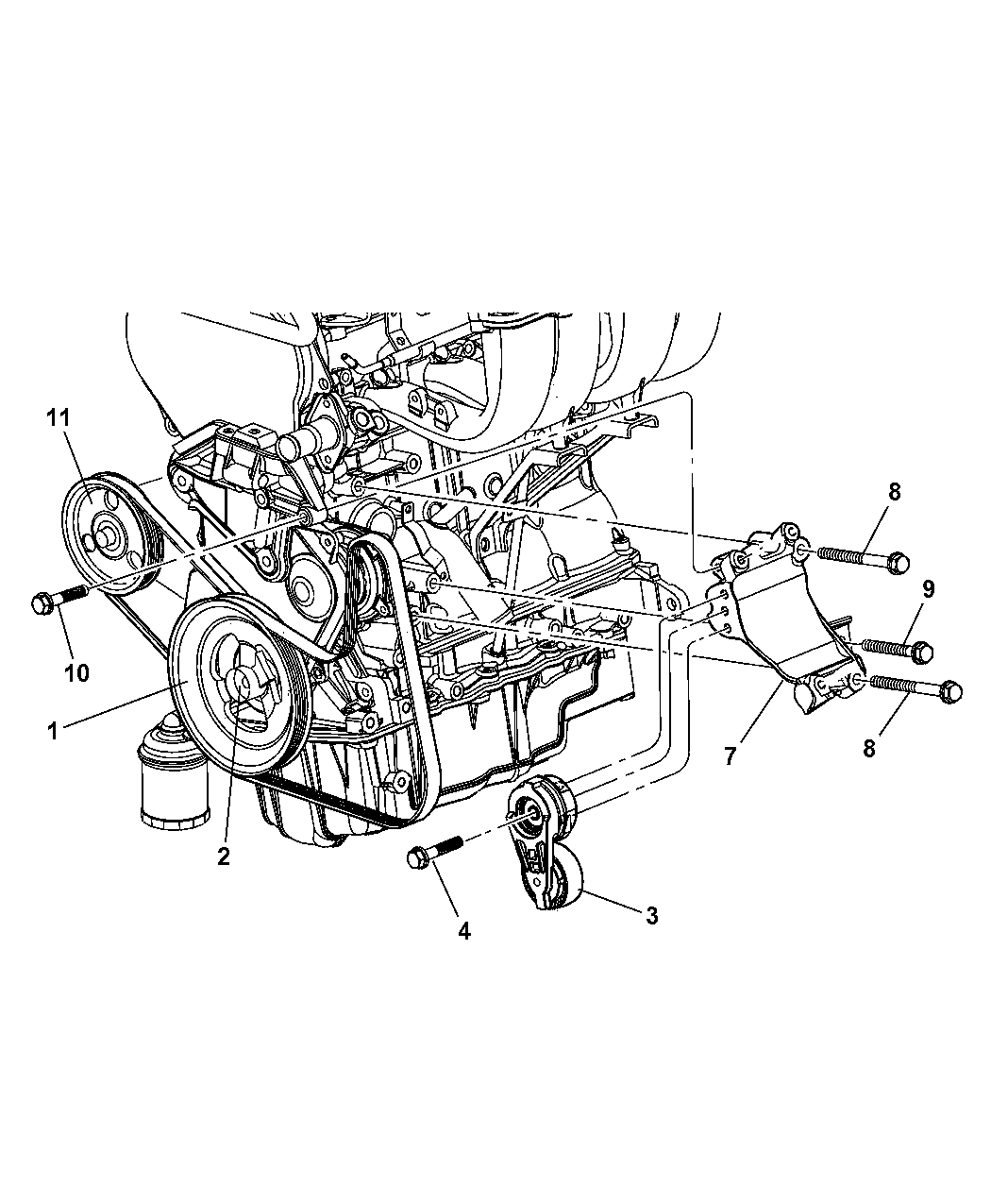 2004 Dodge Grand Caravan Pulley Related Parts Engine Schematics Thumbnail 1