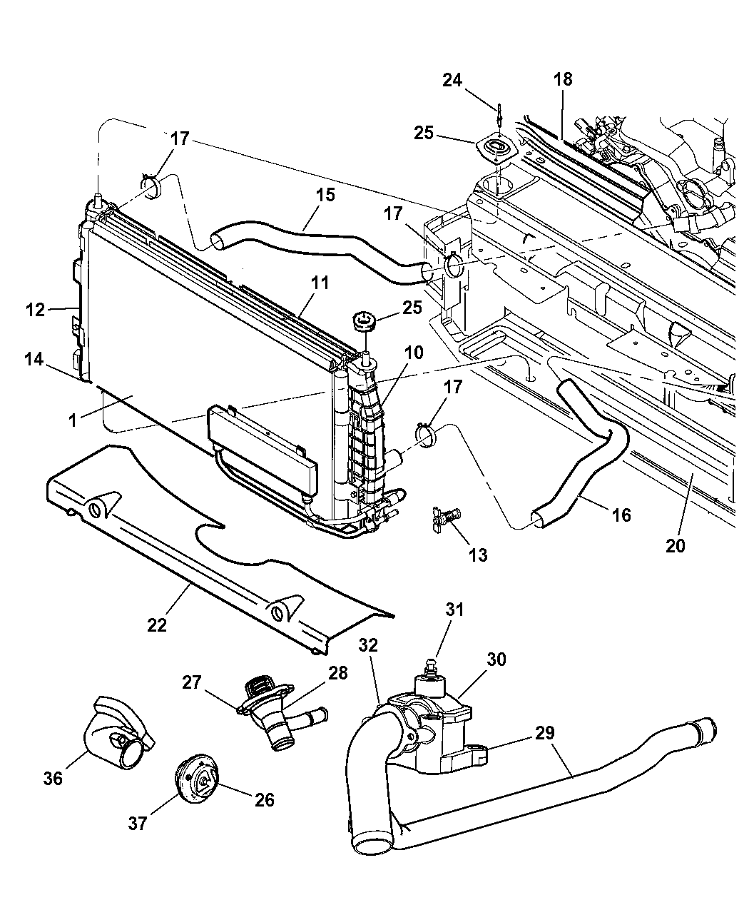 Genuine Chrysler RADIATOR-ENGINE COOLING