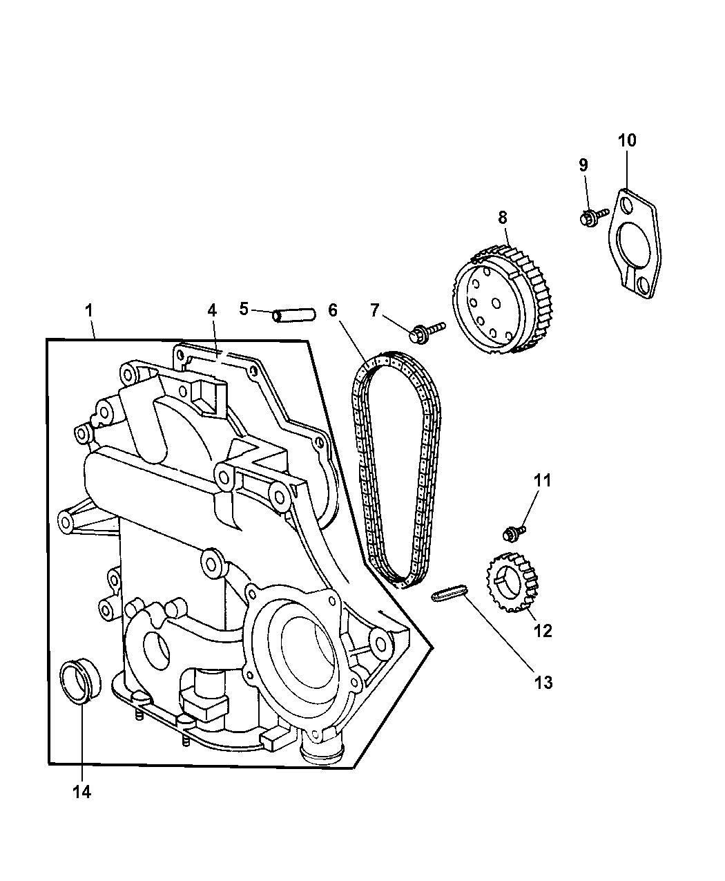 2004 Dodge Caravan Timing Chain Cover Mopar Parts Giant Engine Schematics Thumbnail 1