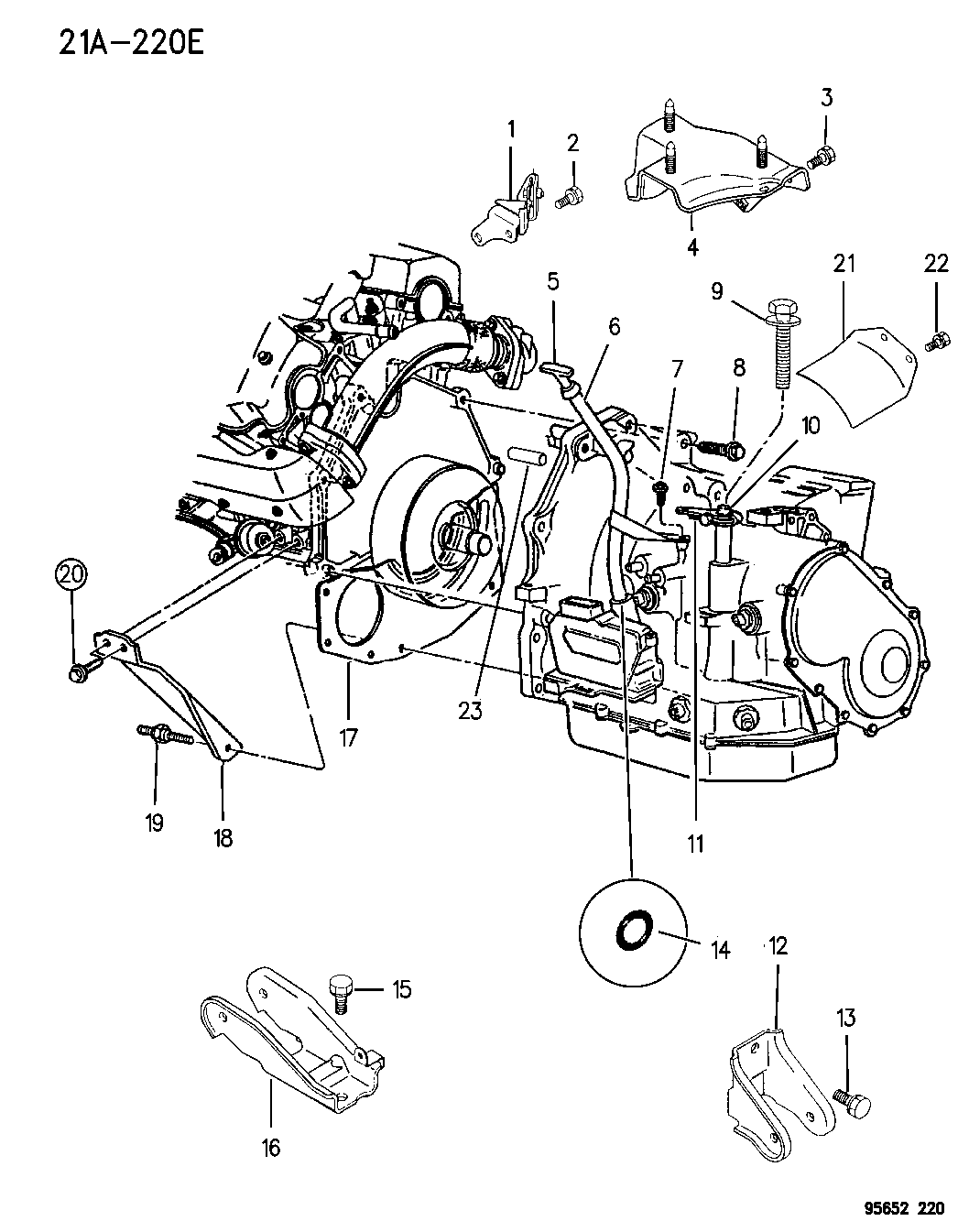 1996 Dodge Avenger Transaxle Mounting Miscellaneous Parts Engine Diagram Thumbnail 1