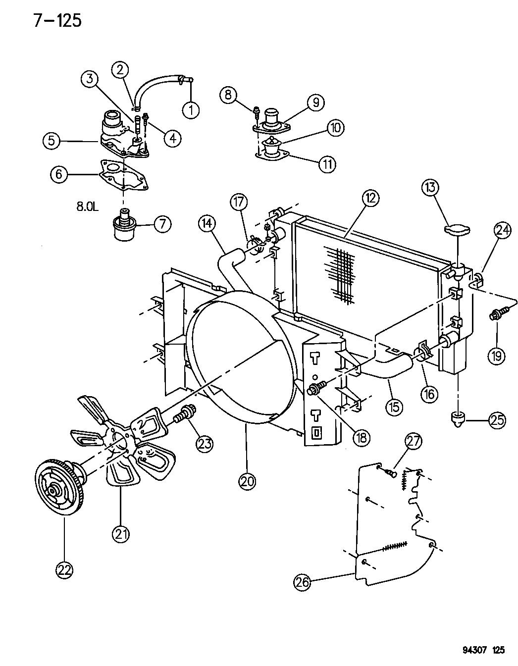1995 Dodge Ram 1500 Radiator & Related Parts