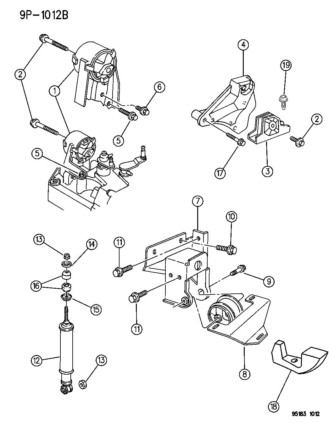 1995 Dodge Neon Engine Mounts - Thumbnail 2
