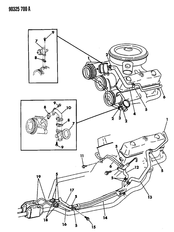 1990 Dodge Ram Van Air Pump Tubing - Diagram 3