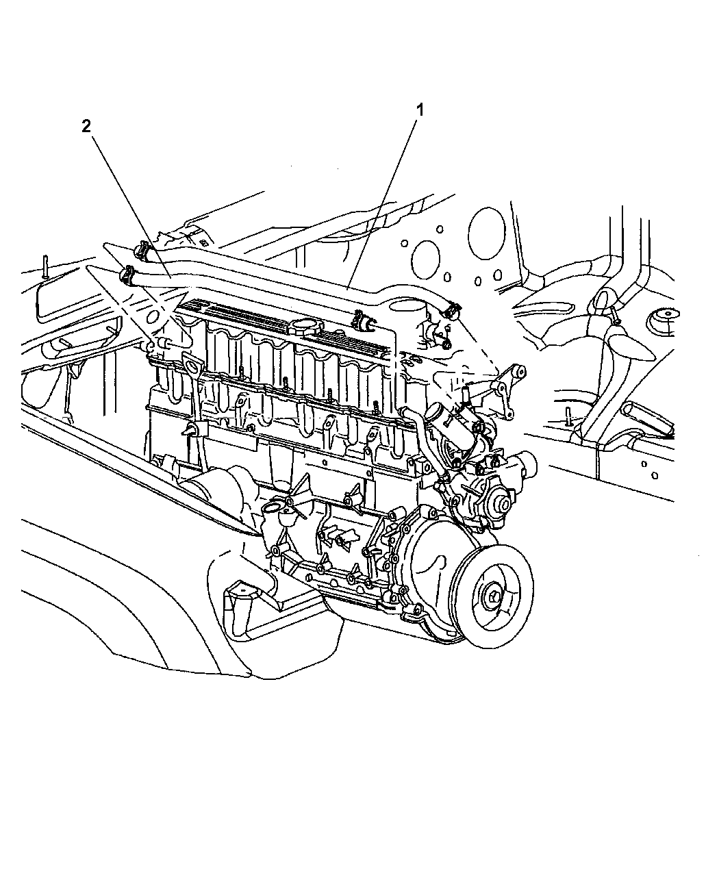 2003 jeep grand cherokee heater hoses - diagram 1