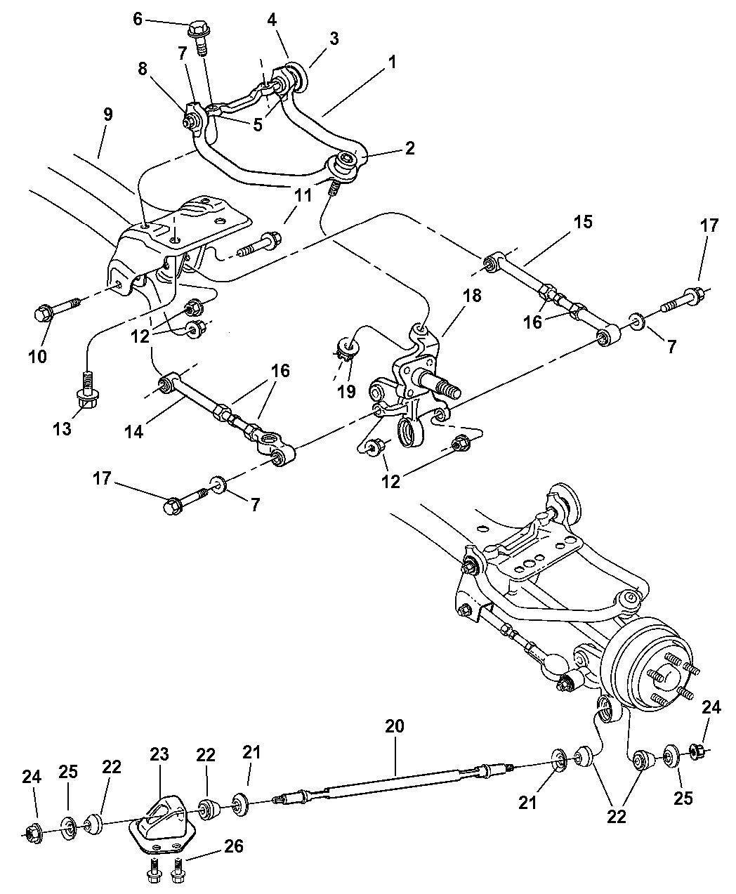 2006 chrysler sebring rear suspension