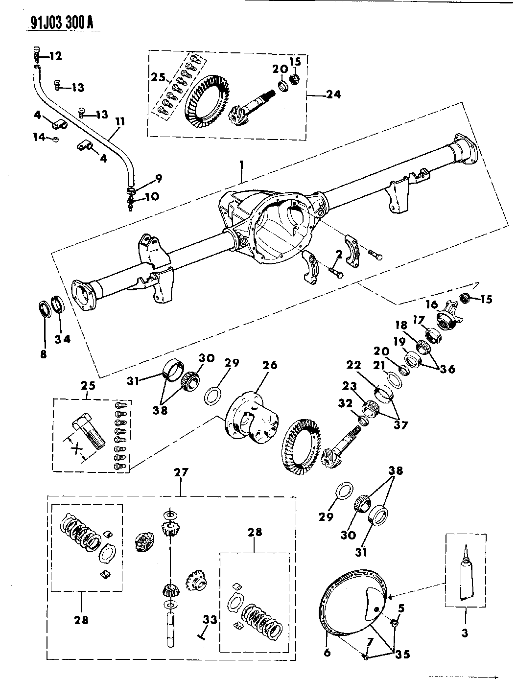 1991 Jeep Wrangler Housing Differential Rear Axle Engine Diagram Thumbnail 2