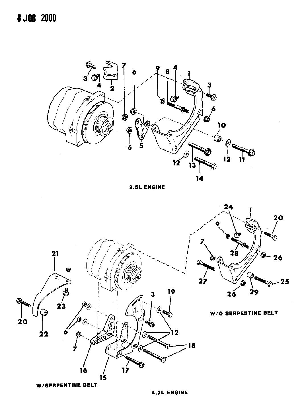 1989 jeep wrangler alternator mounting mopar parts giant rh moparpartsgiant com 1991 Jeep YJ Wiring Diagram 1999 Jeep Wrangler Wiring Diagram