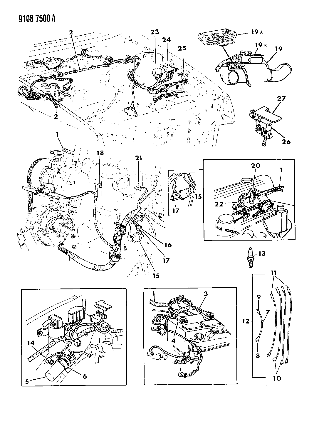 1989 Dodge Daytona Wiring - Engine
