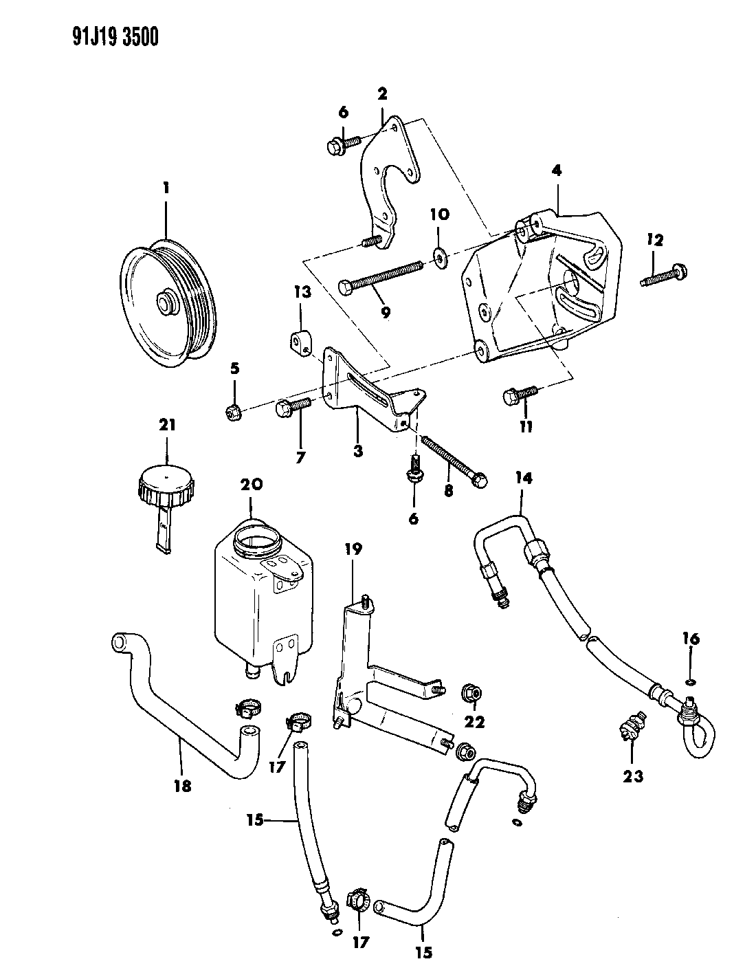 1991 Jeep Wrangler Pump Mounting Power Steering Engine Diagram