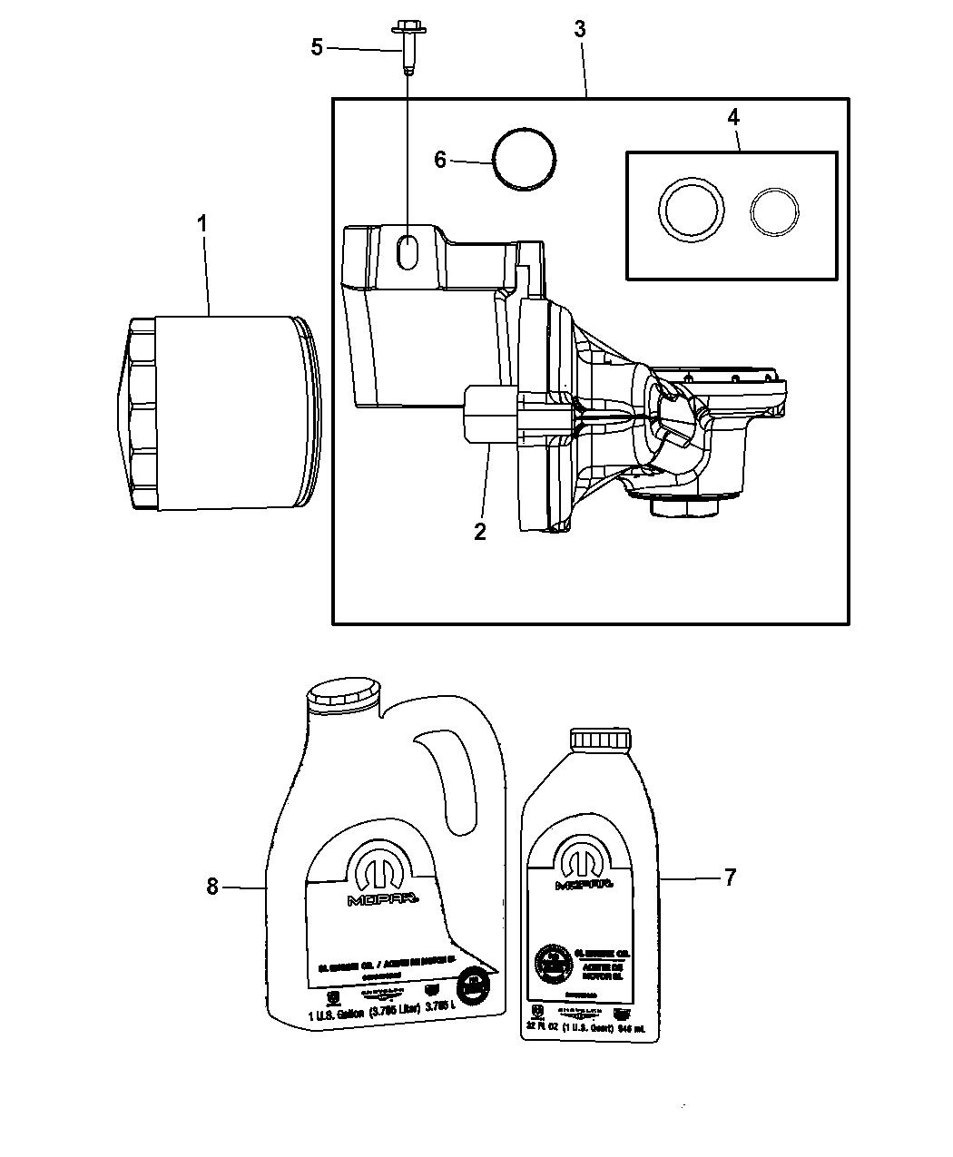4892314ab Genuine Chrysler Adapter Oil Filter