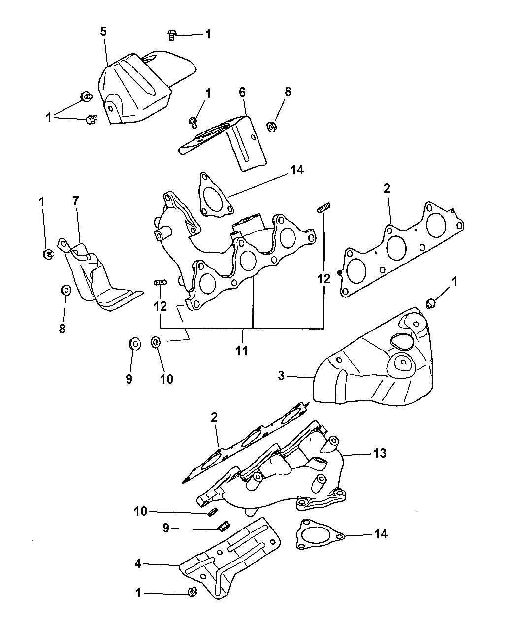 1999 Dodge Avenger Manifolds Intake Exhaust Engine Diagram Thumbnail 3