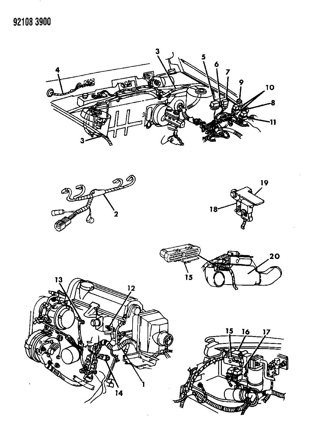 1992 Chrysler Lebaron Sedan Wiring - Engine