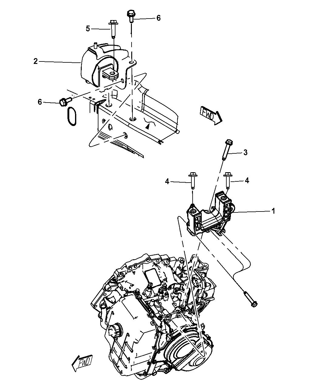 Genuine Chrysler 68111331AC Transmission Mount Support