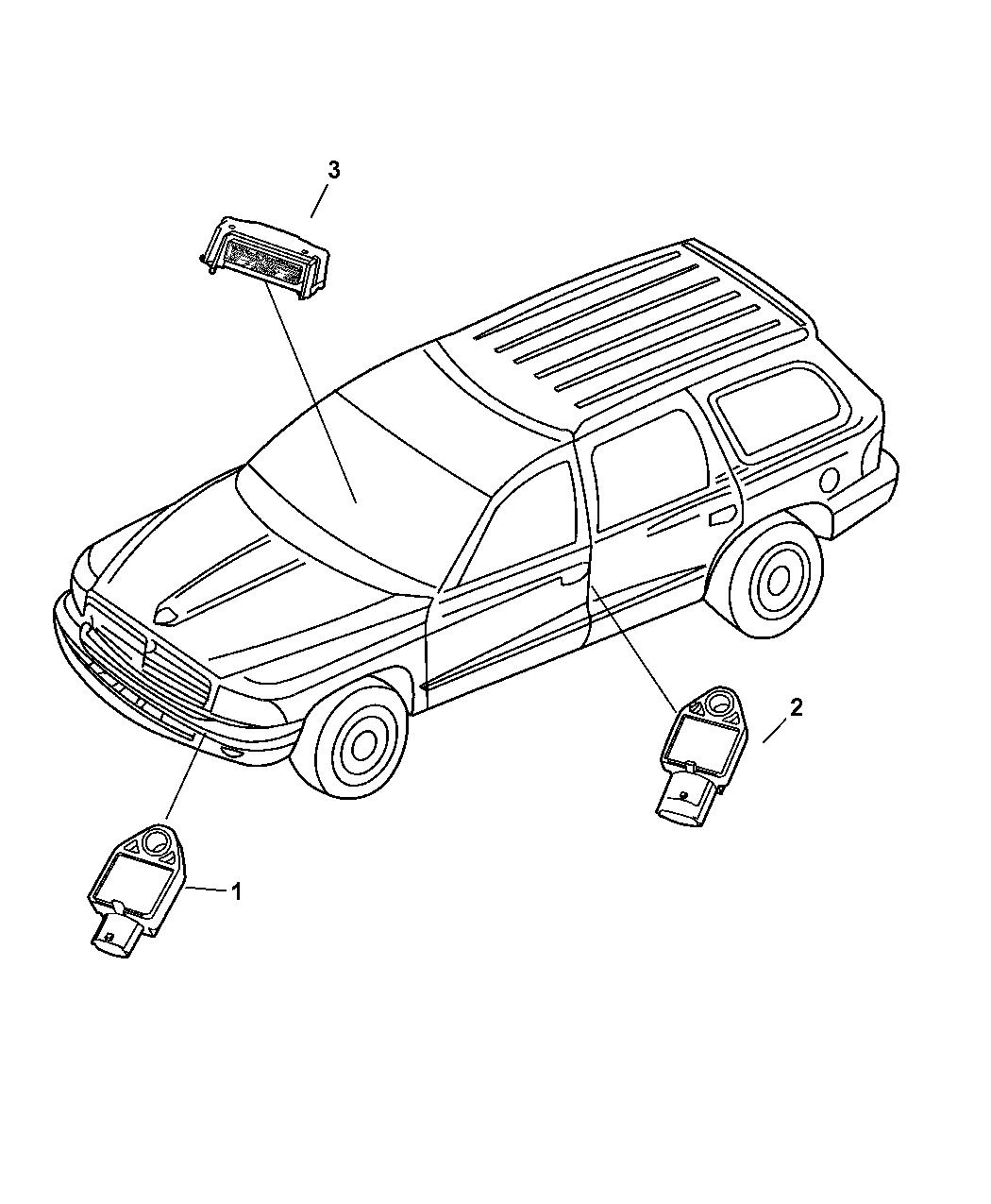 2004 Dodge Durango Air Bag Modules Sensors