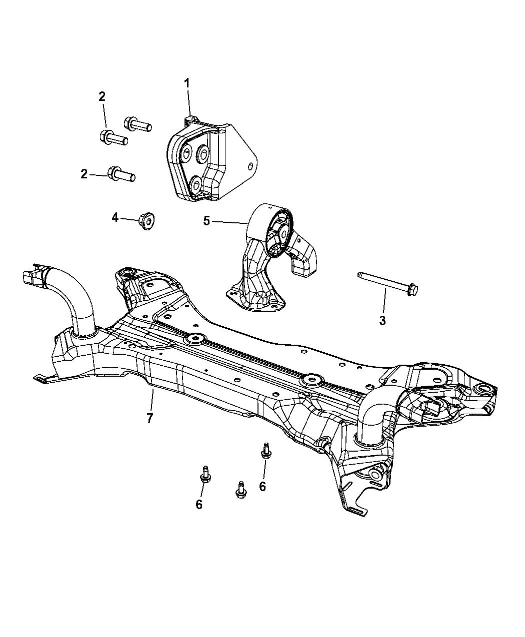 2013 Jeep Compass Engine Mounting Rear Mopar Parts Giant Diagram Thumbnail 1