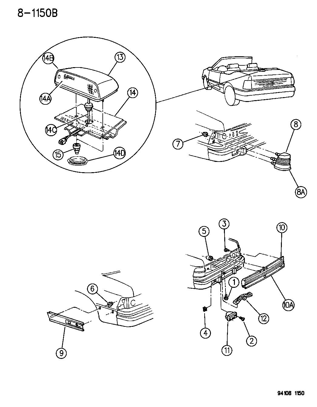 1995 Chrysler LeBaron Lamps & Wiring - Rear