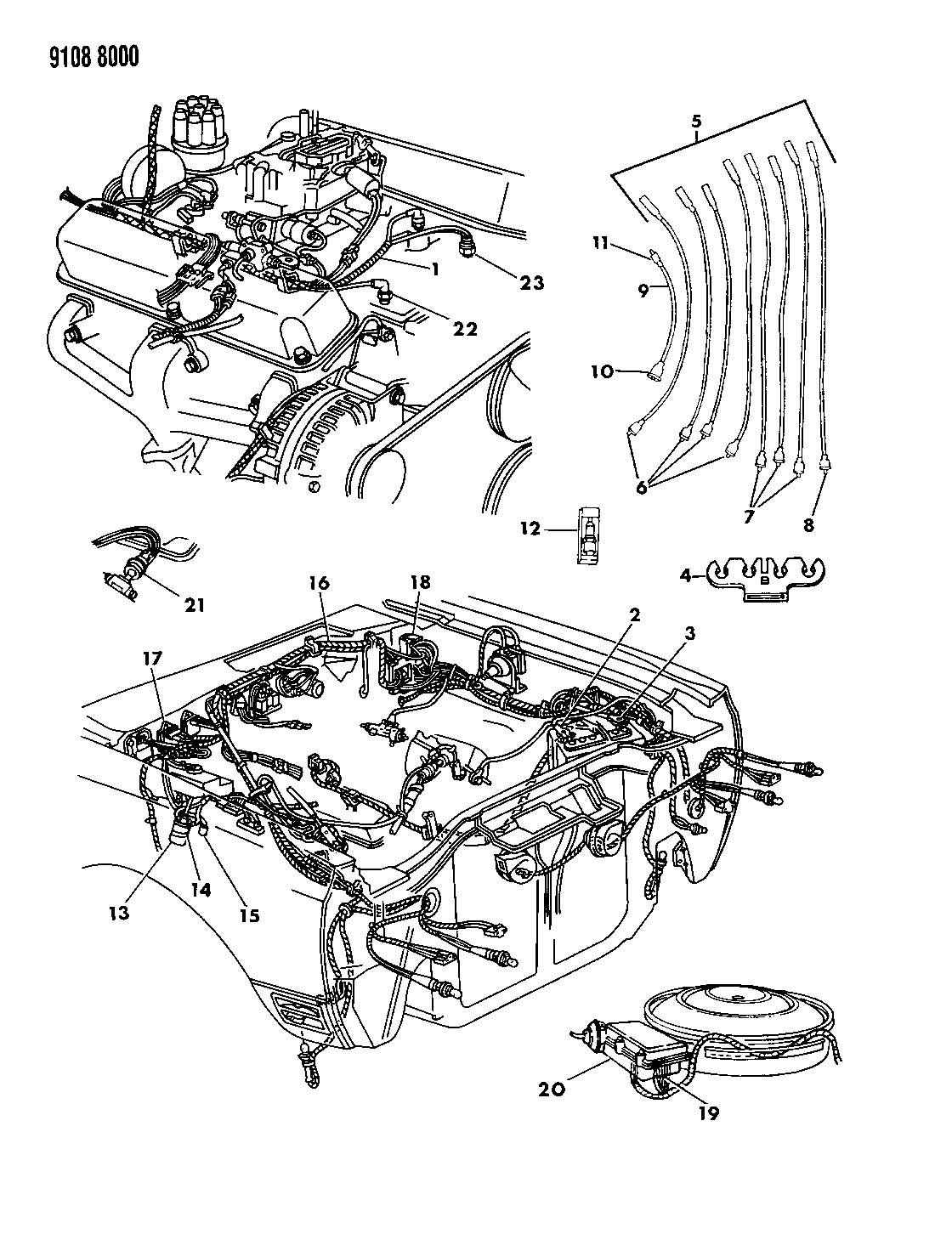 1989 dodge diplomat wiring - engine