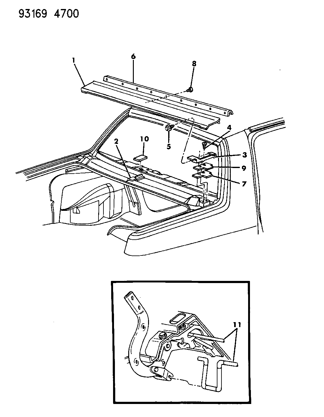 1993 Dodge Spirit Deck Lid Upper Panel Mopar Parts Giant Wiring Diagram