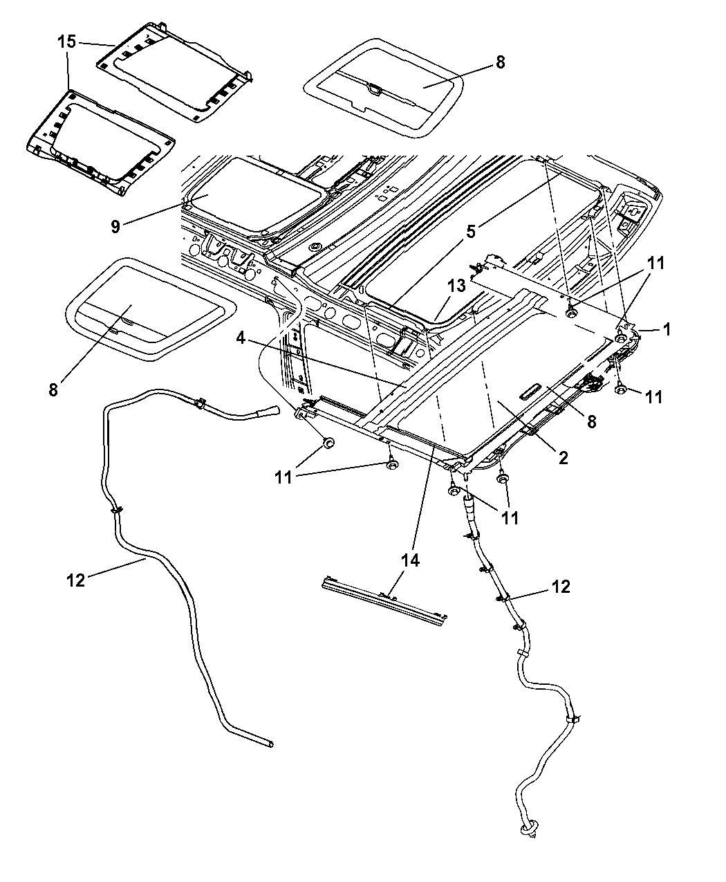 2009 Jeep Commander Sunroof Glass Component Parts Fuse Diagram